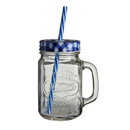 Mason üveg bögre kék fedéllel