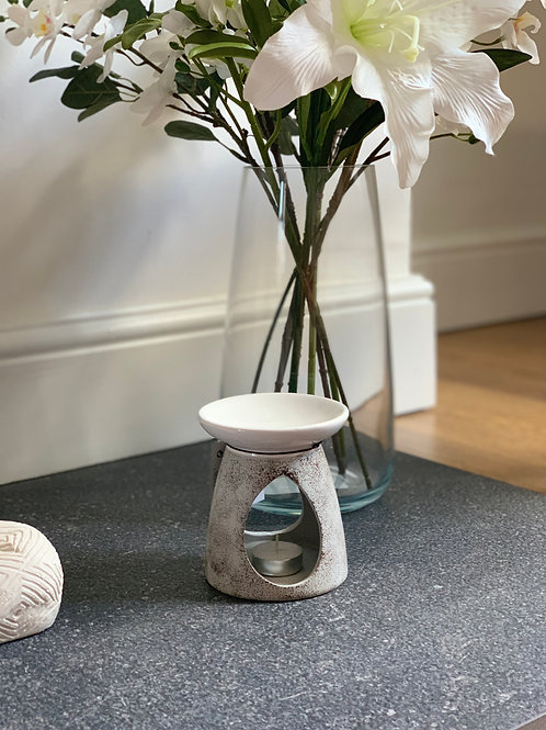 Large White & Grey Ceramic Oil Burner