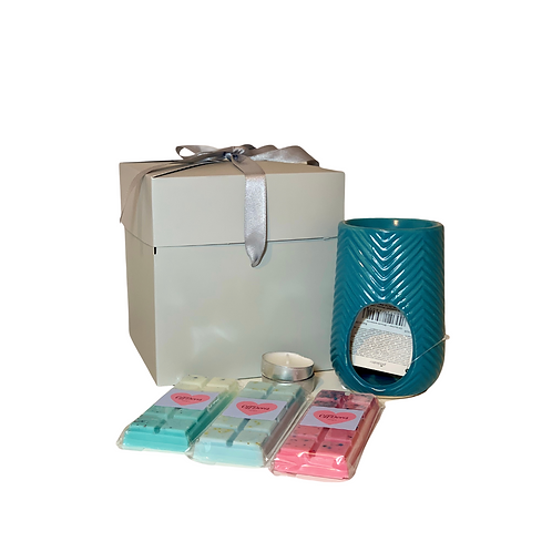 Ceramic Herring Bone Oil Burner Gift Set