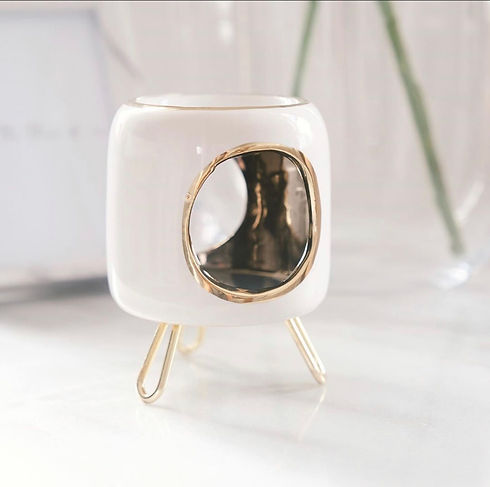 Vintage white and gold oil burner - wax melts