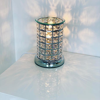 Silver Sparkly Glittery Aroma Lamp Wax Melt Burner