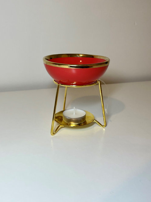 Red with Golden Edged Metal and Ceramic Oil Burner