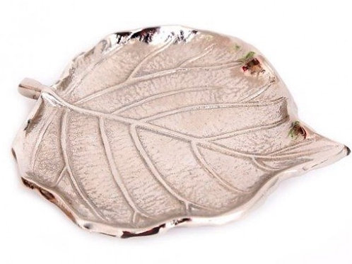Leaf Shaped Silver Aluminium Dish