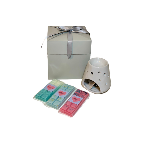 Tapered Ceramic Oil Burner with Circular Cut-outs Gift Box