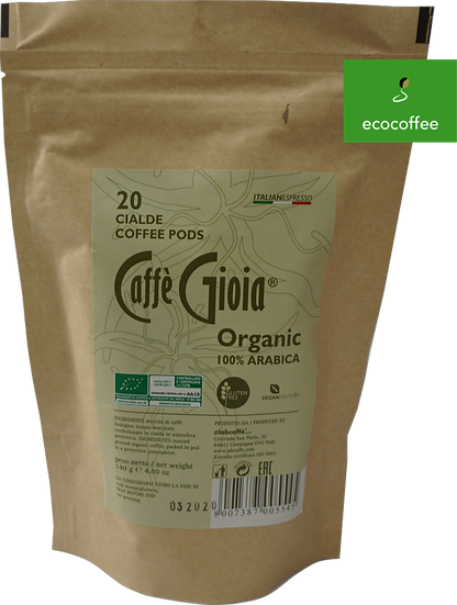 Caffè Gioia Kaffeepads 100% Arabica Bio & Fairtrade LUNGO (20 Pads Beutel)