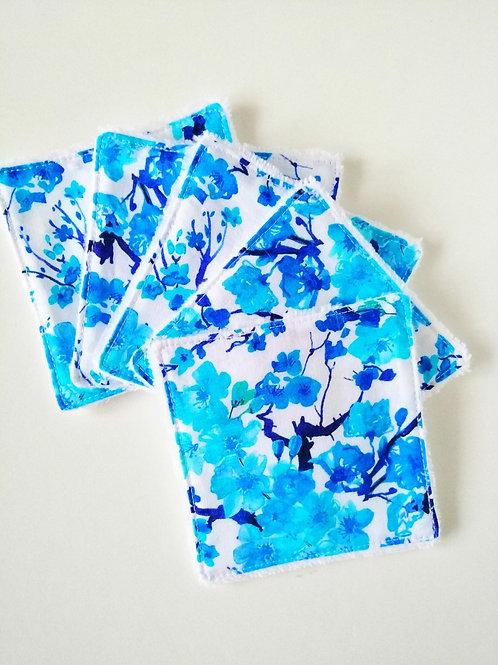 Lingettes lavables Sakura bleu