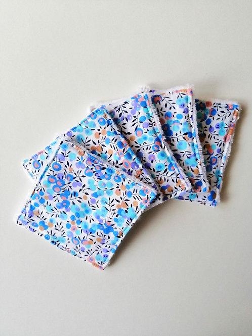 Lingettes lavables / carrés démaquillants Lola bleu