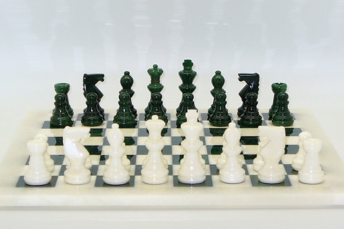 Alabaster Chess Set - Green-White Board MF1GN