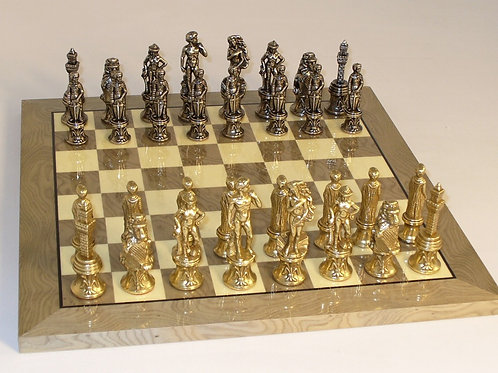 Florence Metal Chessmen on Grey Briar Glossy Board by Ital Fama