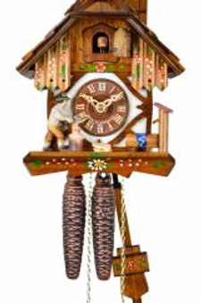 ONE DAY Cuckoo Clock - Black Forest house with moving wood chopper