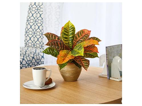 "15"" Garden Croton Artificial Plant in Ceramic Planter"