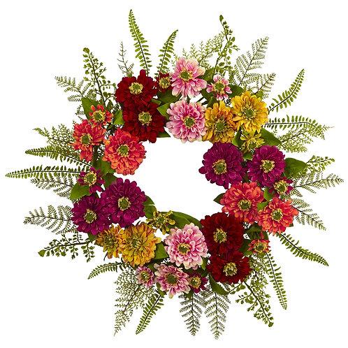 """20"""" Mixed Flower Wreath (Silk) SKU 4582"""