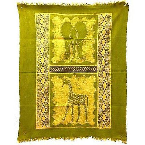 ELEPHANT AND GIRAFFE BATIK IN LIME/PERIWINKLE