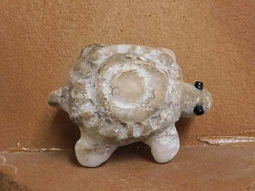 Native American Apache Carved Alabaster Turtle Sculpture