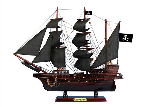 """Wooden Captain Hook's Jolly Roger Black Sails Pirate Ship 26"""" from Peter Pan"""