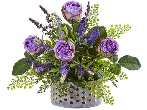 Rose and Lavender Artificial Arrangement in Designer Vase #1819