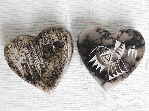 Native American Made Ceramic Horsehair Small Heart Jewelry Box
