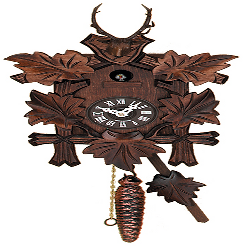 Hand-carved Hunter's Quarter Call Cuckoo Clock with Five Leaves and Buck #991-11