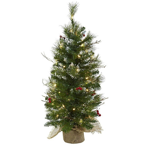 3' Christmas Tree w/Clear Lights Berries & Burlap Bag SKU: 5442