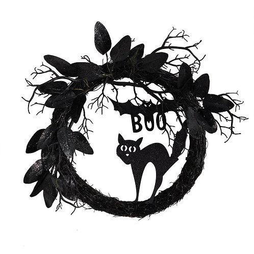 "22"" Halloween Black Cat and Bat Boo Twig Wreath SKU: W1207"