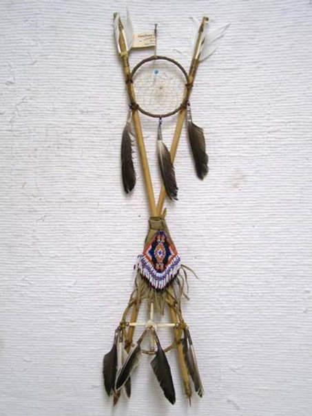 """26"""" - Native American Navajo Made 4-Way Crossed Arrows with Beaded Pouch"""