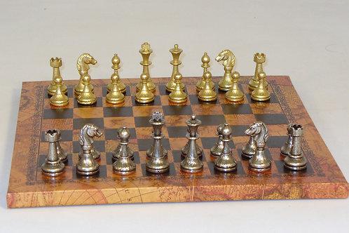 "Staunton Metal Men 3"" King: Antique Map Pressed Leather Chessboard 1"" squares"