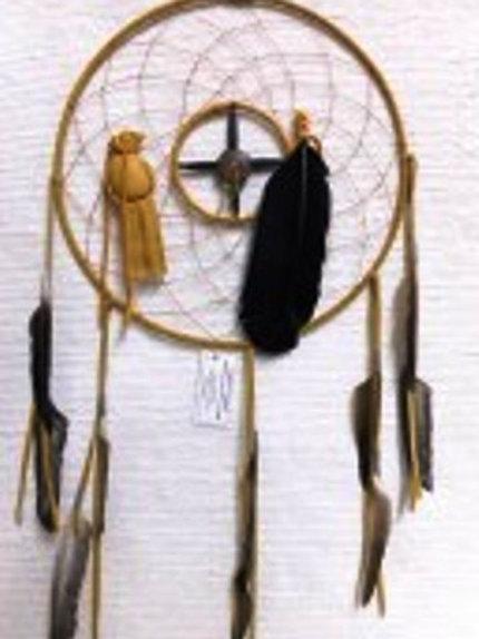 "12"" Medicine Wheel-Dreamcatcher Combo-CB18-GOLD"