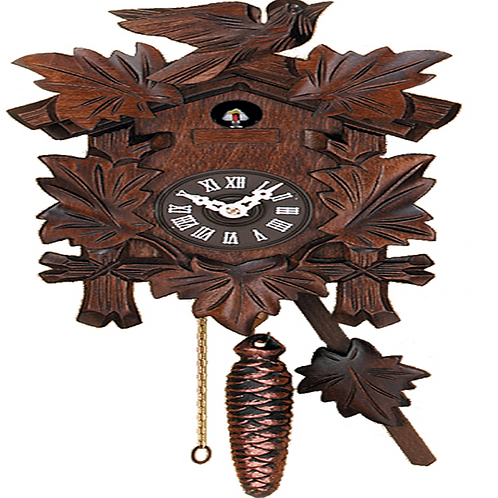 Hand-carved Quarter Call Cuckoo Clock with Five Leaves & One Bird #931-10