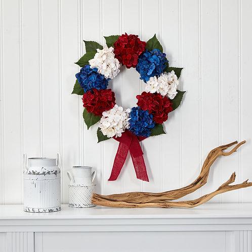 "24"" Red, White and Blue ""Americana"" Hydrangea Artificial Wreath"