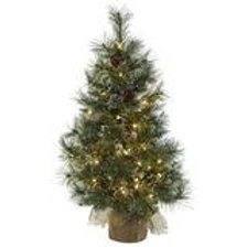 3' Christmas Tree w/Clear Lights, Frosted Tips, Pine Cones & Burlap Bag SKU 5444