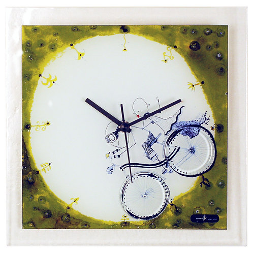 Glass Wall Clock with Boy & Girl on Bicycle