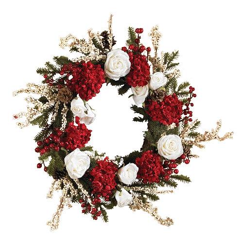 "24"" Hydrangea w/White Roses Wreath (Silk)"