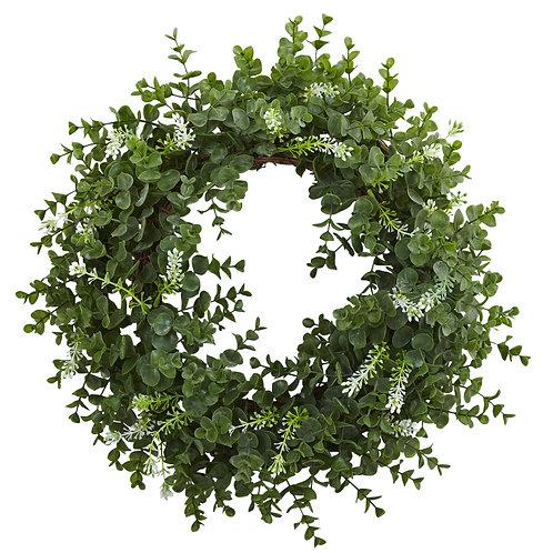 "18"" Eucalyptus Double Ring Wreath w/Twig Base"