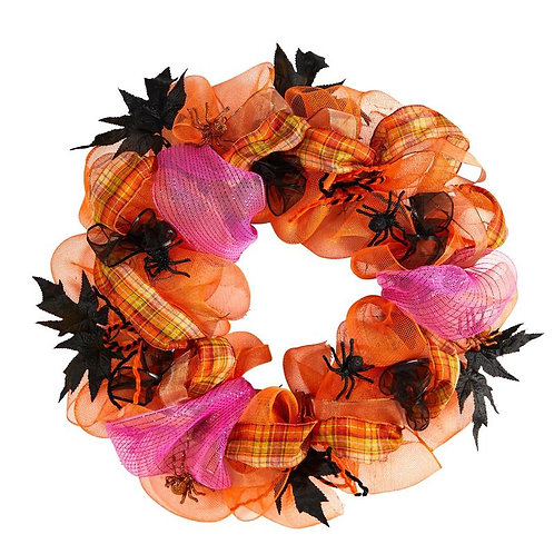 "26"" Halloween Spider Mesh Wreath SKU: W1196"