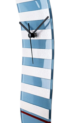 Light Blue and White Striped Nautical Wave Glass Clock