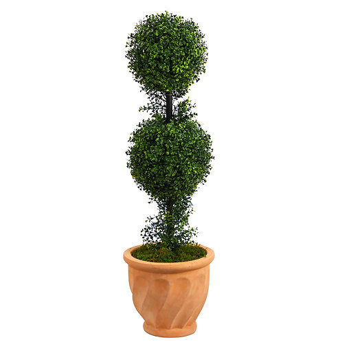 "40"" Boxwood Double Ball Topiary Artificial Tree in Terra-Cotta Planter (Indoor/O"