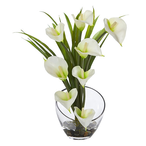 """15.5"""" Calla Lily and Grass Artificial Arrangement in Vase #1530-CR"""