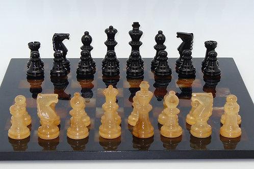 Scali Alabaster Chess Set Black-Brown with Black Frame MF1BB