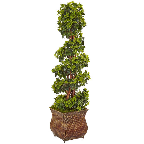 4' English Ivy Spiral Tree in Metal Planter UV Resist (Indoor/Outdoor) SKU5856