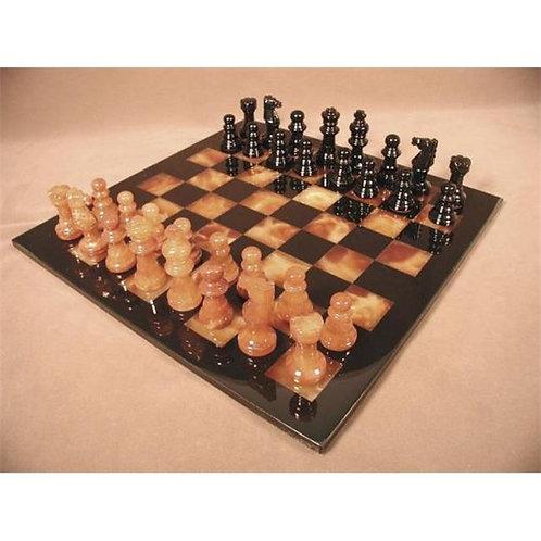 """Black & Brown Alabaster Chess Set """"MF1BB"""""""