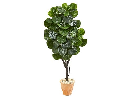 "65"" Fiddle Leaf Fig Artificial Tree in Terra Cotta Planter"