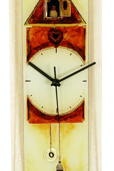 Rectangle Glass Wall Clock with Cuckoo Clock Design