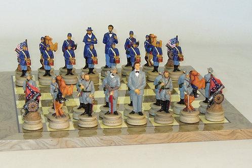 Royal Chess R1861-GY Civil War Generals Chess Set on Grey/Ivory Briar Board