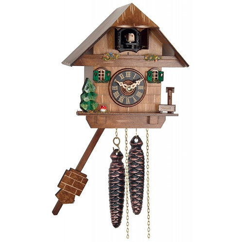 Cottage with Hand-Painted Flowers - Quarter Call Cuckoo Clock #986-08