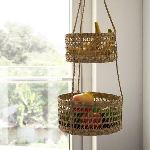 2-Tier Woven Wall Hanging Baskets for Storage and Plant Pot Holder