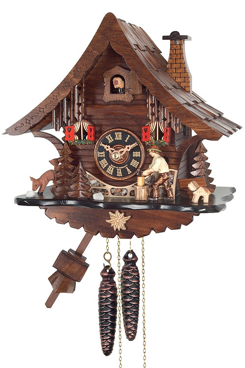One Day Cuckoo Clock Cottage with Man Chopping Wood