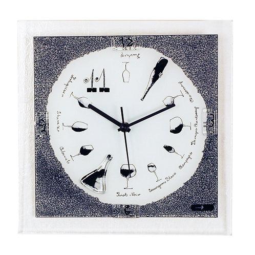 Wine Theme Glass Wall Clock