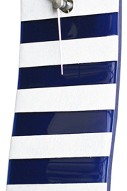Navy Blue and White Striped Nautical Wave Glass Clock with Knotted Rope