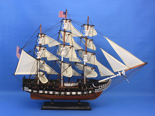 "Wooden USS Constitution Tall Model Ship 24"" long"