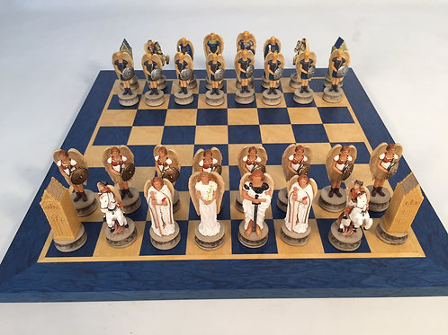 Angels Resin Chessmen on Blue & Tan Board